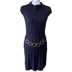 Milly cable knit sweater dress gold belt detail